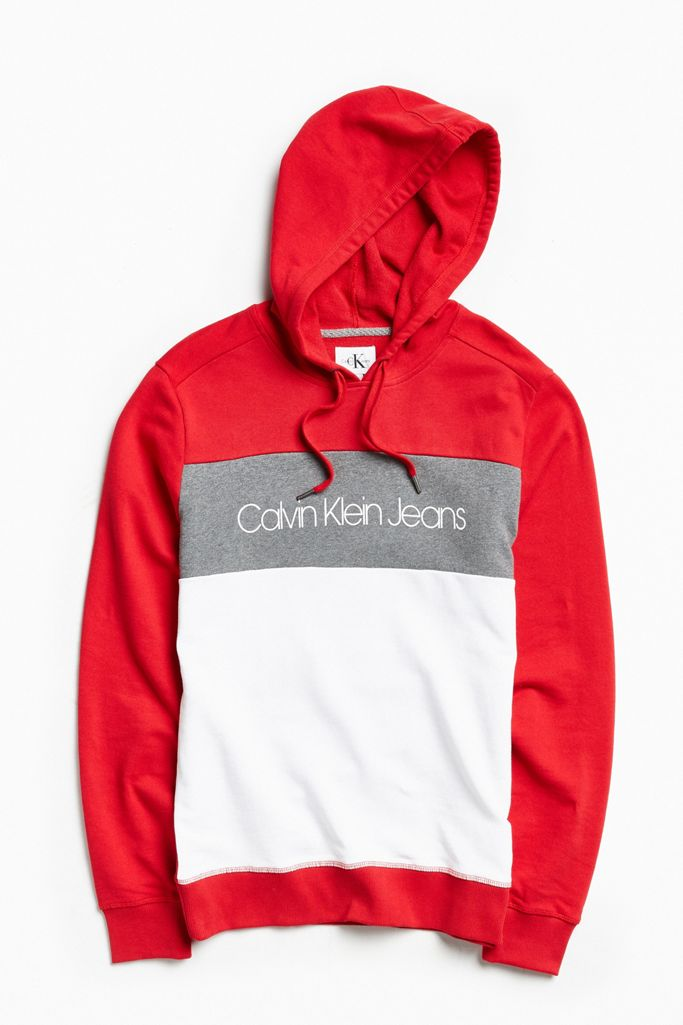 foto de Calvin Klein Colorblocked Hoodie Sweatshirt   Urban Outfitters