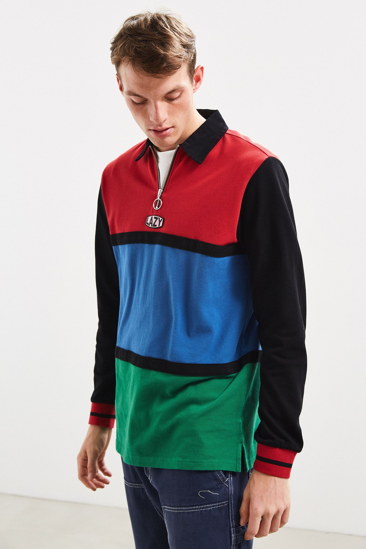 226138c6670 Lazy Oaf Colorblock Zip Rugby Shirt | Urban Outfitters