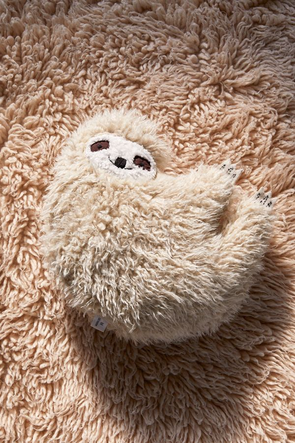 Slide View: 1: Furry Sloth Pillow