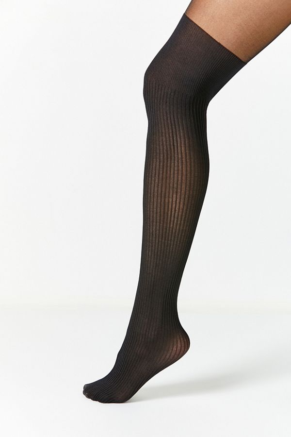 0949024dafa Slide View  1  Out From Under Ribbed Faux Thigh High Sheer Tight