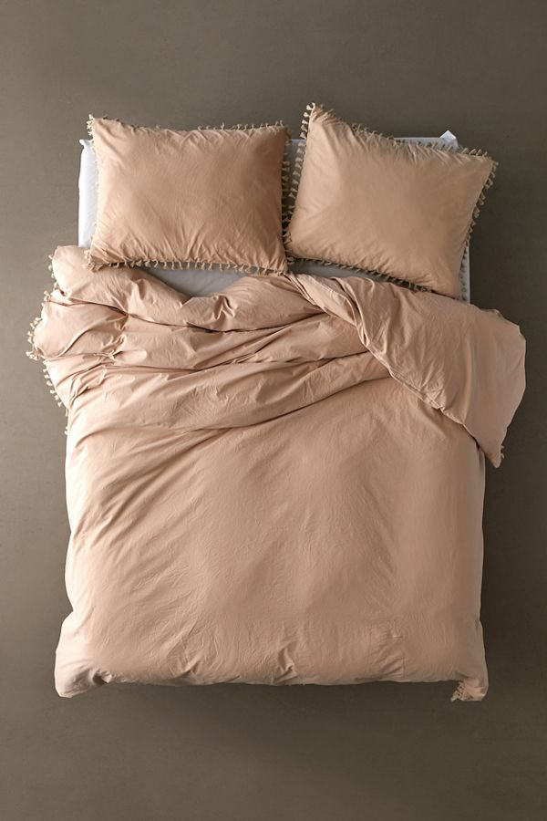 Slide View: 2: Washed Cotton Tassel Duvet Cover