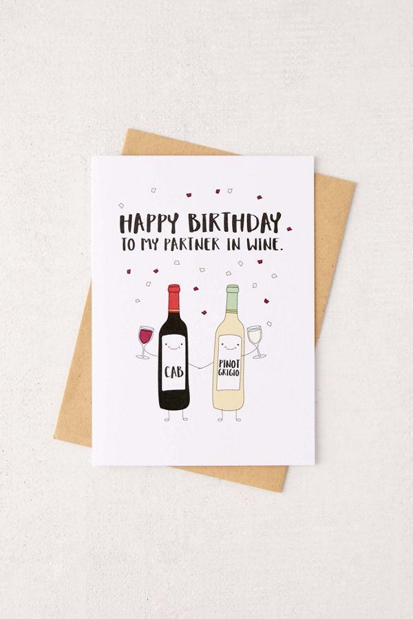 Humdrum Paper Happy Birthday Partner In Wine Card