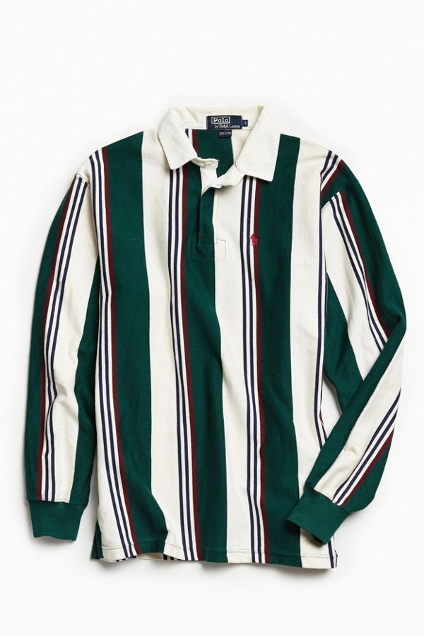 Shirt Vintage Polo Ralph Rugby Lauren Multi Vertical Stripe PTOkXiZu
