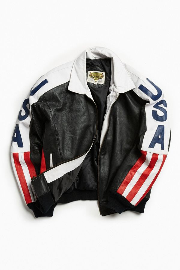 a8b4704c7 Vintage USA Leather Bomber Jacket