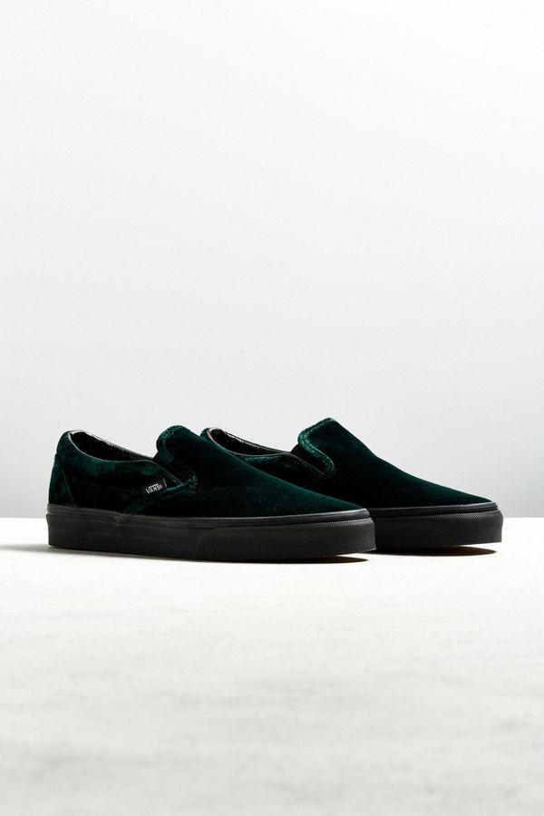 6ed3f0fe60684c Vans Classic Slip-On Green Velvet Sneaker