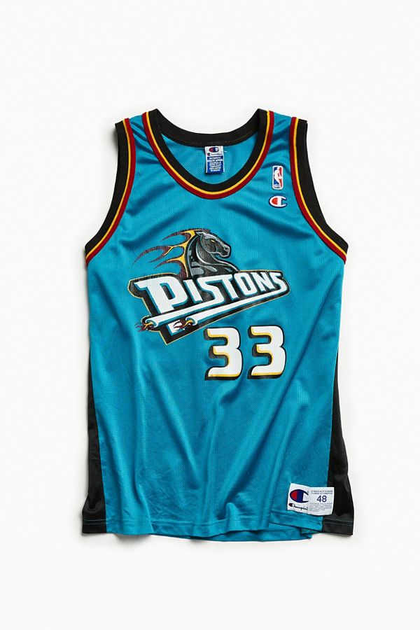 best authentic 2f475 5727b Vintage Detroit Pistons Grant Hill Teal Basketball Jersey