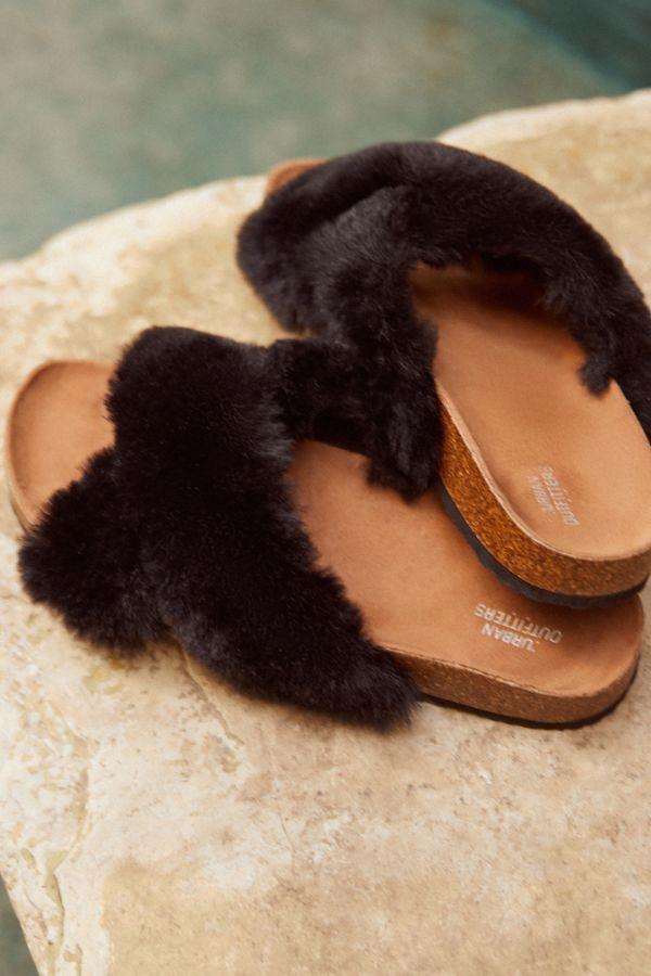 350b534d0704 Crossed Faux Fur Slide