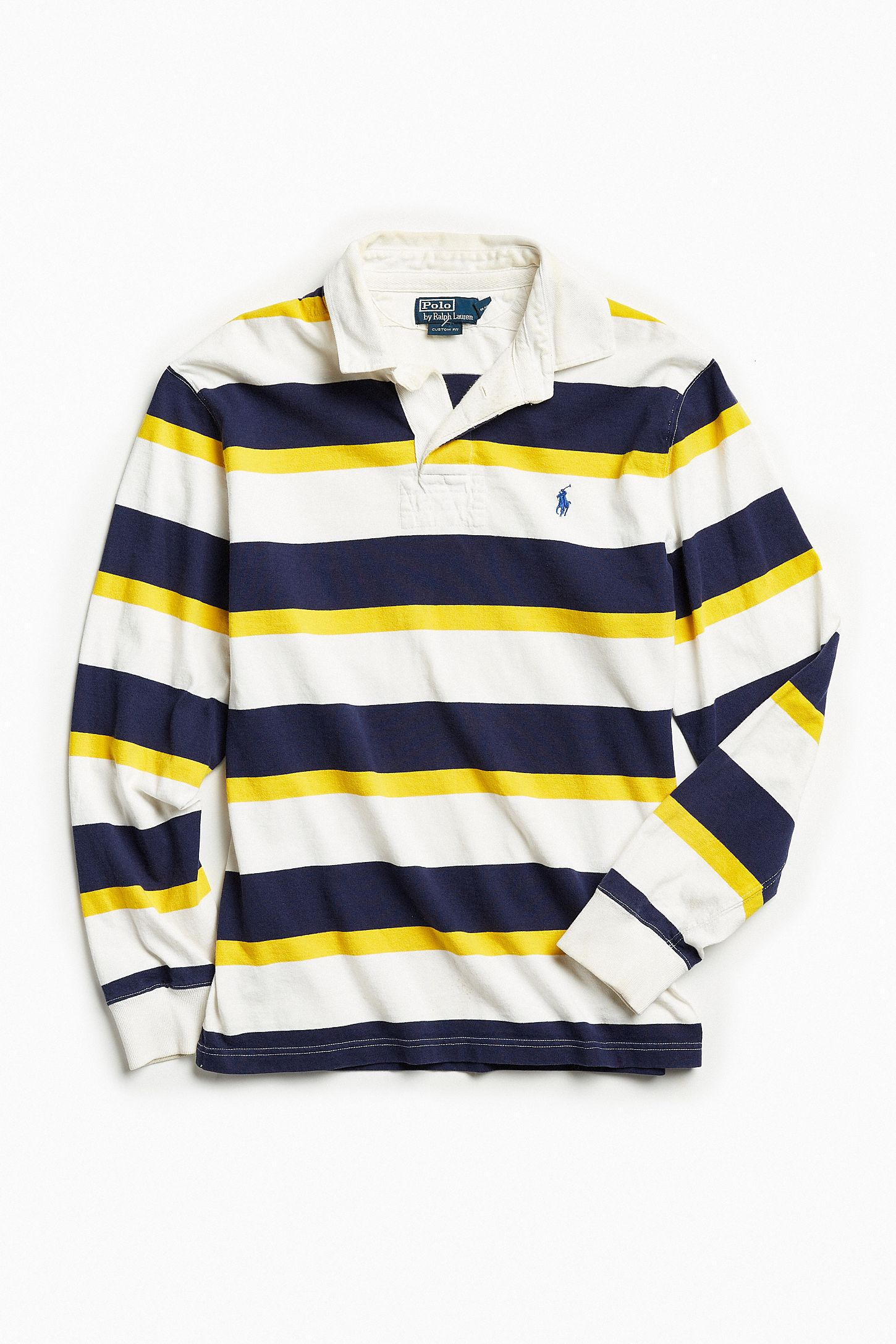 79b0563cbcb Vintage Polo Ralph Lauren White + Navy Stripe Rugby Shirt. Tap image to  zoom. Hover to zoom. Double Tap to Zoom
