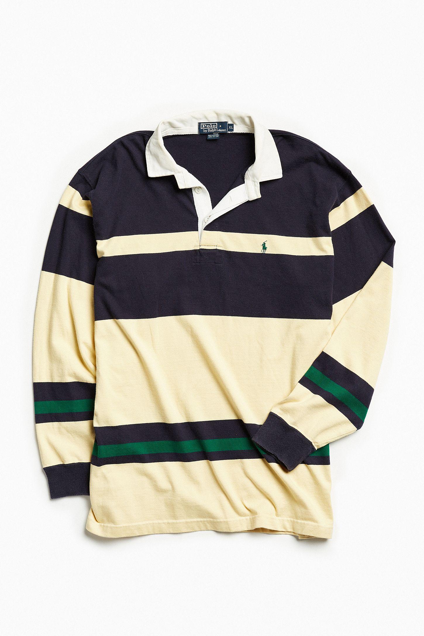 68c5fef142c Vintage Polo Ralph Lauren Yellow + Navy Stripe Rugby Shirt | Urban ...