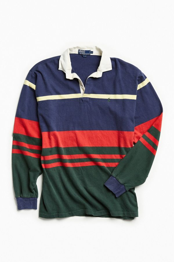 4dc6b08bbf6 Vintage Polo Ralph Lauren Navy Multi Rugby Shirt | Urban Outfitters