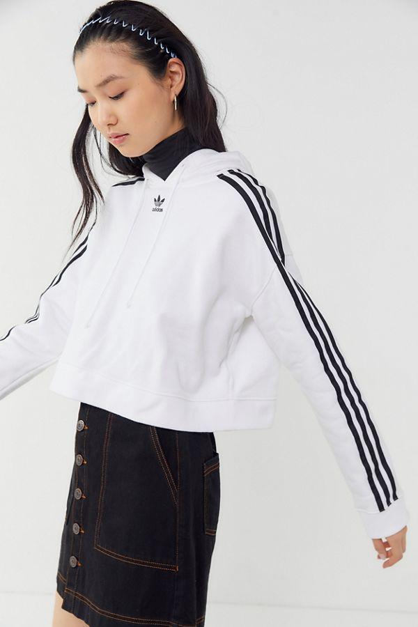 adidas Originals Adicolor 3 Stripes Trefoil Cropped Hoodie Sweatshirt