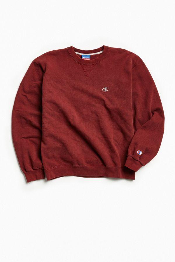 Vintage Champion Maroon Small Logo Crew Neck Sweatshirt