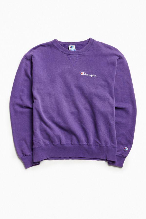 fe019702abc6 Vintage Champion Purple Script Logo Crew Neck Sweatshirt   Urban ...