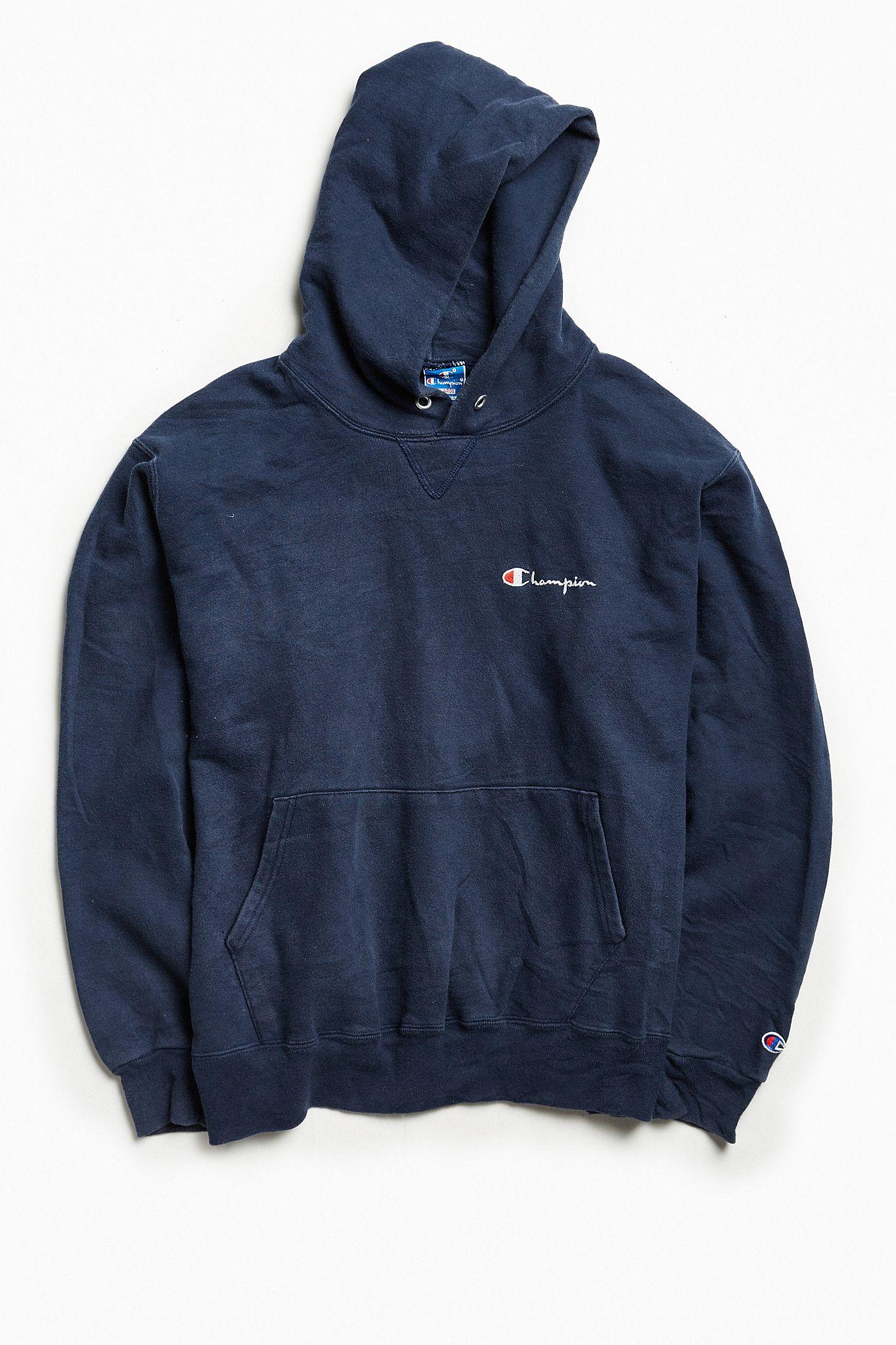 612015827fb7 Vintage Champion Dark Blue Script Logo Hoodie Sweatshirt