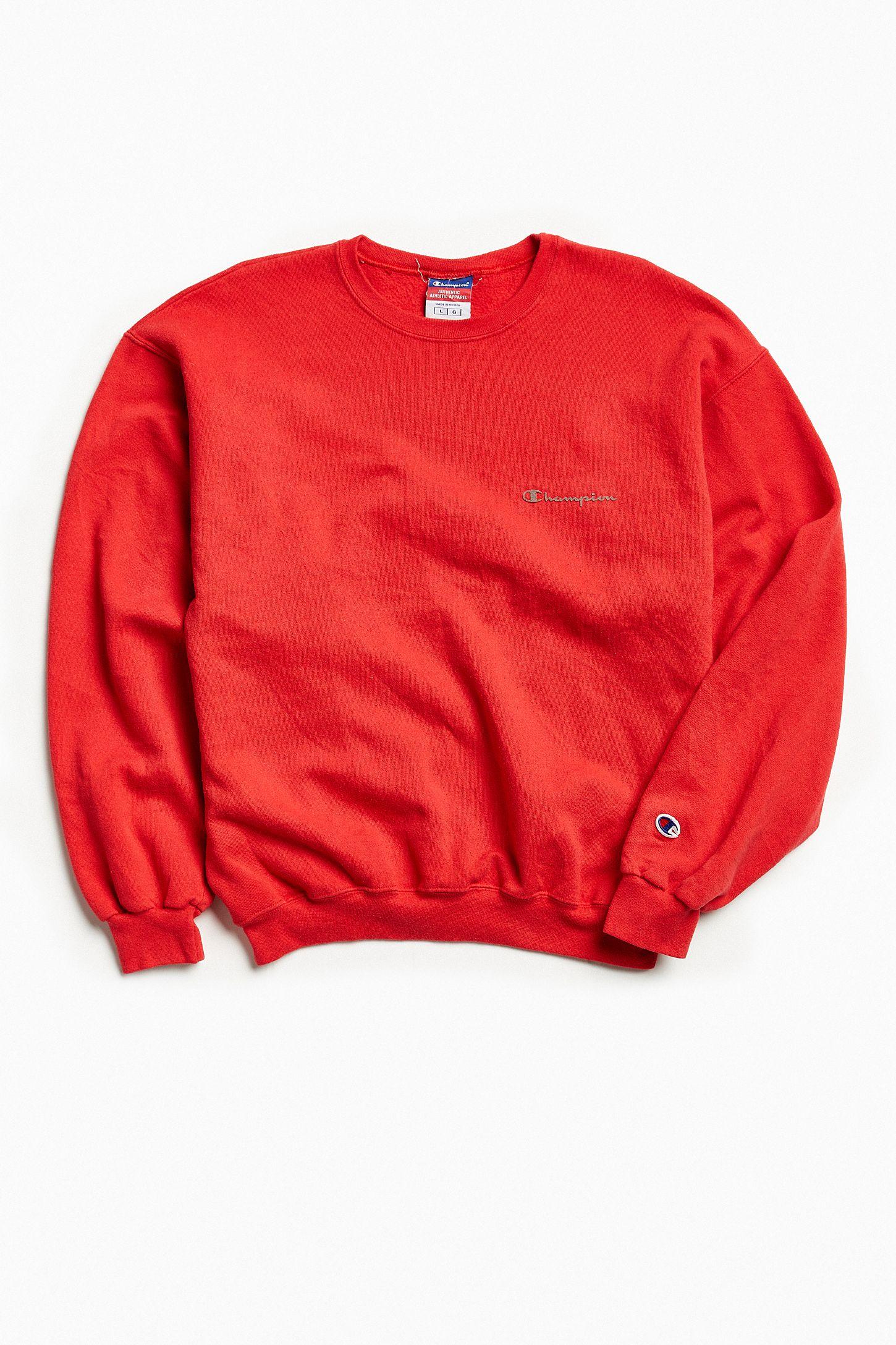f38e938ec520 Vintage Champion Red Script Logo Crew Neck Sweatshirt