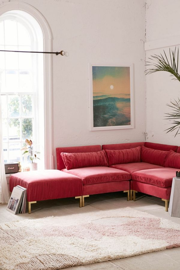 Miraculous Cecilia Ruched Velvet Sectional Sofa Alphanode Cool Chair Designs And Ideas Alphanodeonline