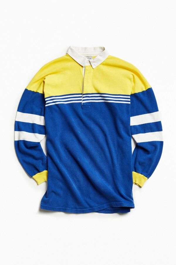 17ff64022e5 Vintage United Colors of Benetton Yellow + Blue Stripe Rugby Shirt ...