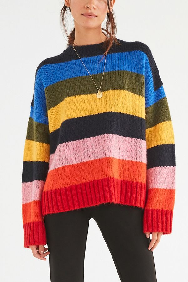 c3757080d8724 UO Kari Rainbow Striped Oversized Sweater