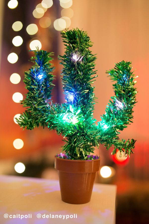 Cactus Christmas Tree.Light Up Potted Cactus Christmas Tree