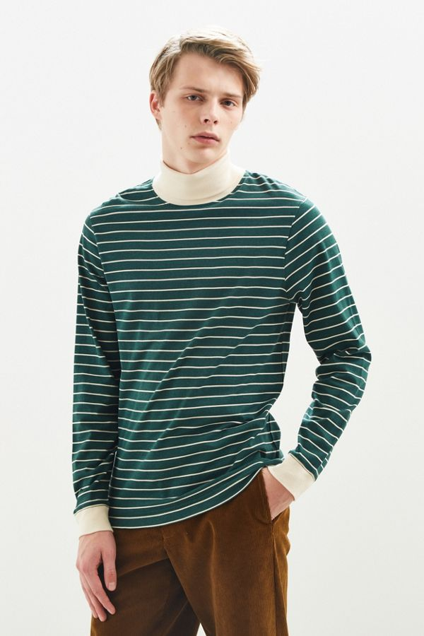 f934113a03d1a9 UO Striped Turtleneck Long Sleeve Shirt | Urban Outfitters