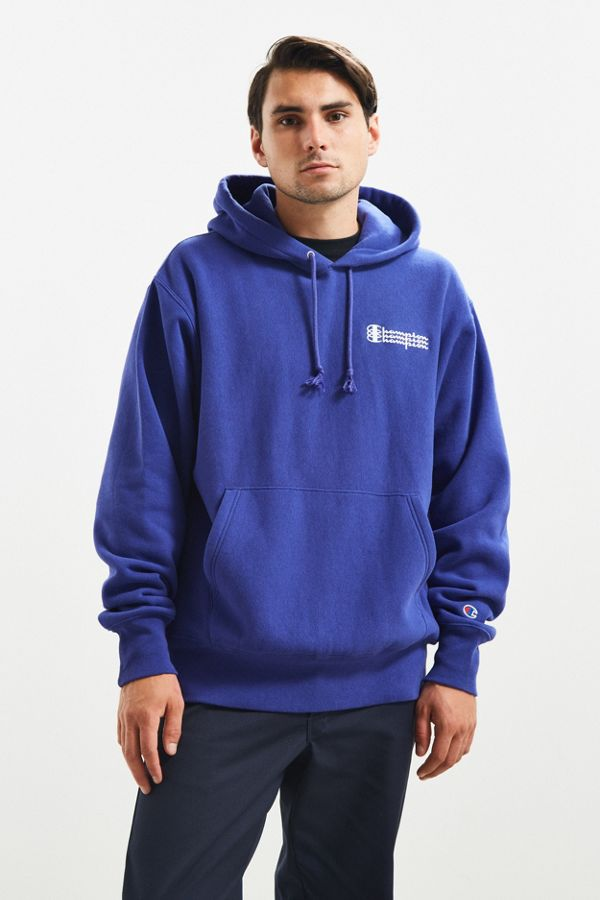 1a03b0057763 Your Urban Outfitters Gallery. Champion UO Exclusive Blue Triple Script  Reverse Weave Hoodie Sweatshirt