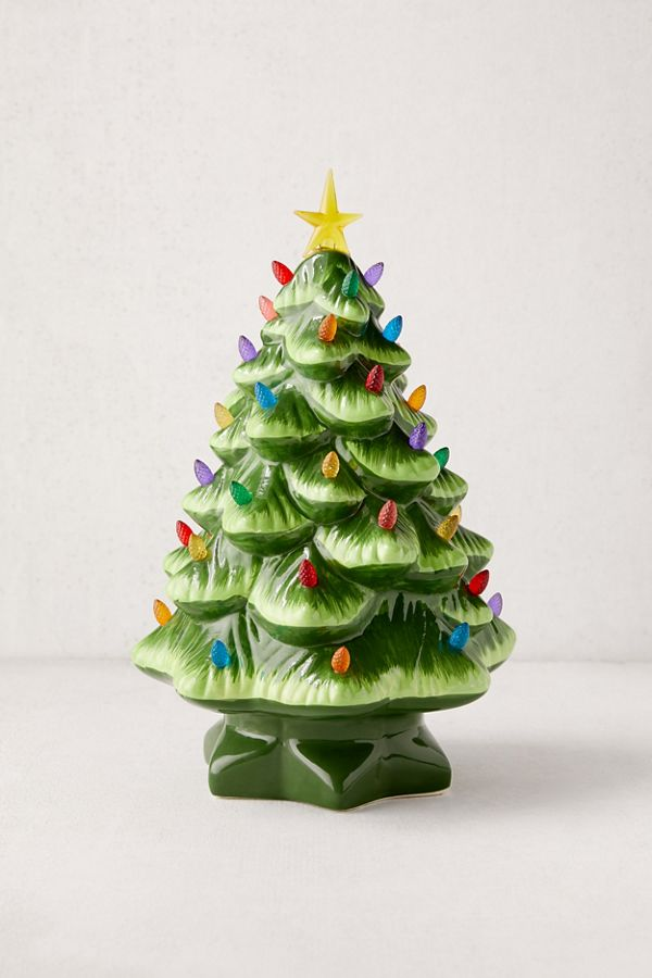 Ceramic Christmas Tree With Lights.Light Up Led Nostalgia Christmas Tree