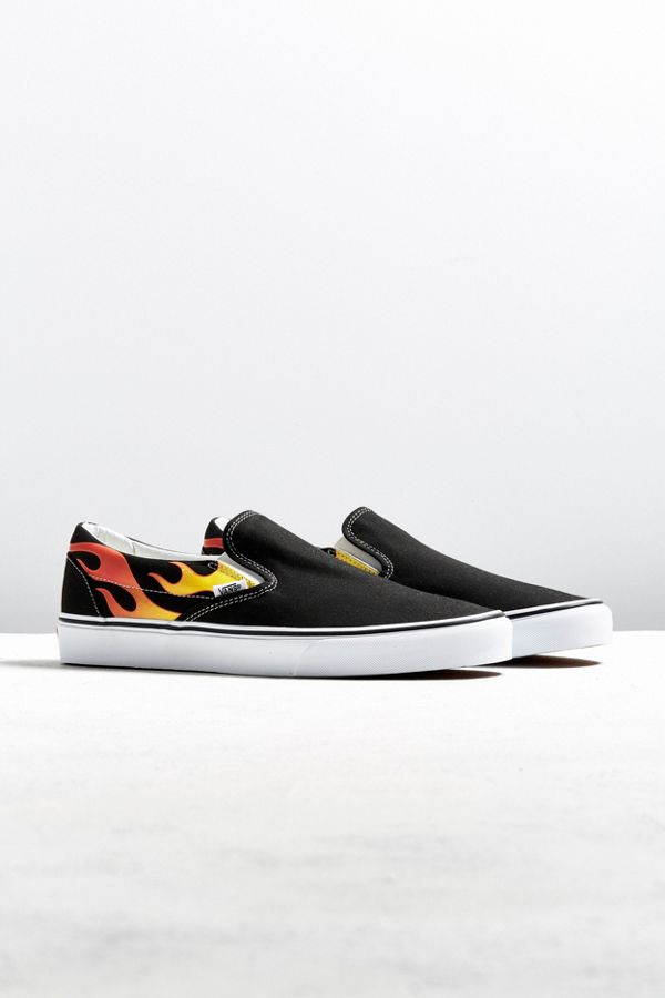 slip on vans flame