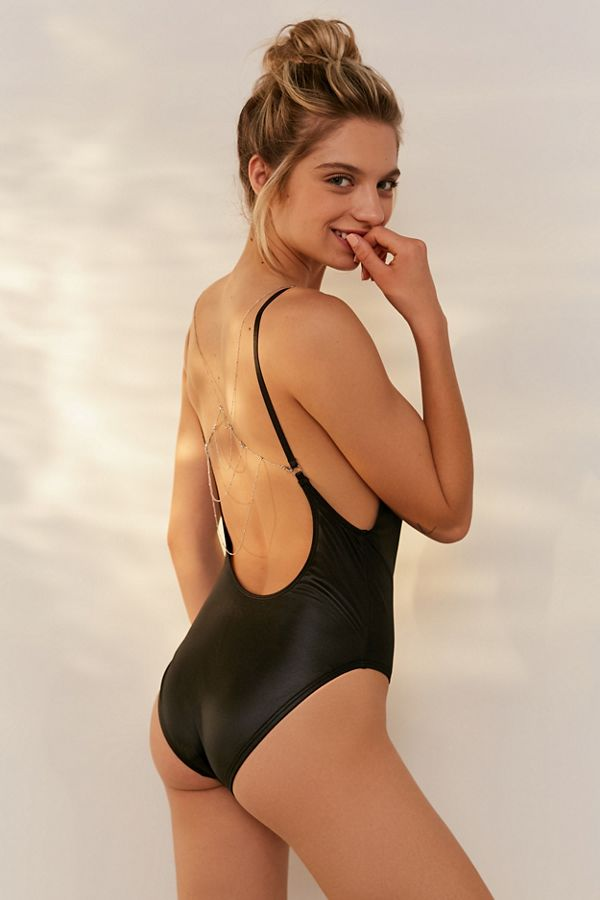 e5703a0522c Out From Under Body Chain Black Scoop Back One-Piece Swimsuit