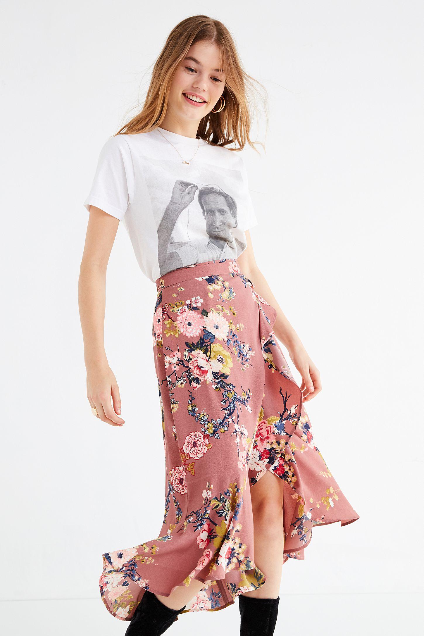 a81036d61d541f BOG Collective Ruffle Wrap Floral Midi Skirt