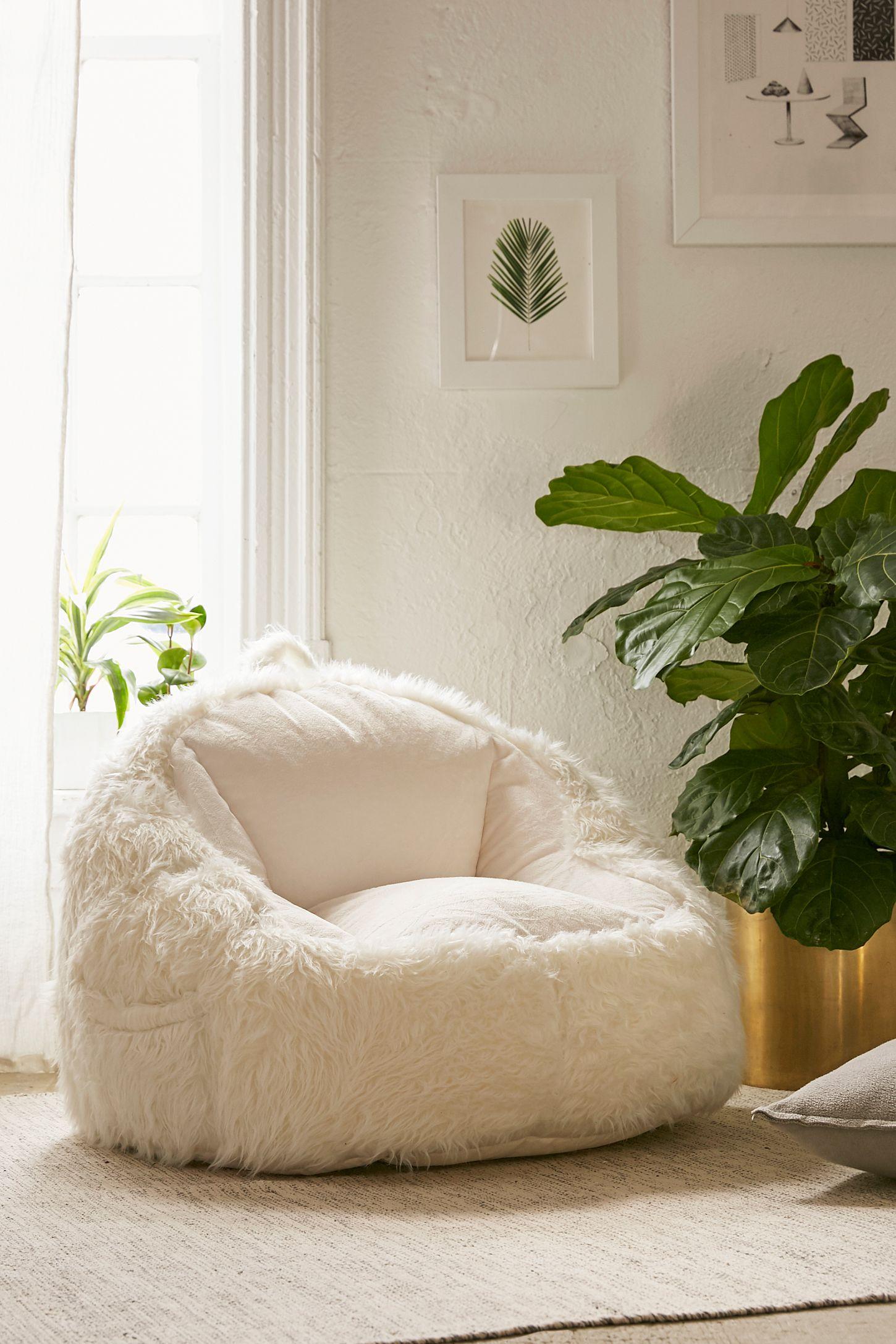 Astounding Faux Fur Electronics Storage Bean Bag Chair Ncnpc Chair Design For Home Ncnpcorg