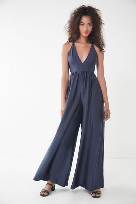 0fc6a4658f0 UO Gia Plunging Shimmer Jumpsuit