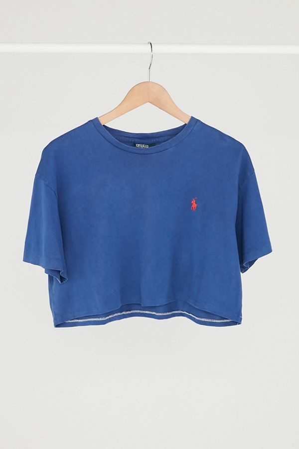 7d11267c10a Vintage Polo Ralph Lauren Blue Cropped Tee | Urban Outfitters