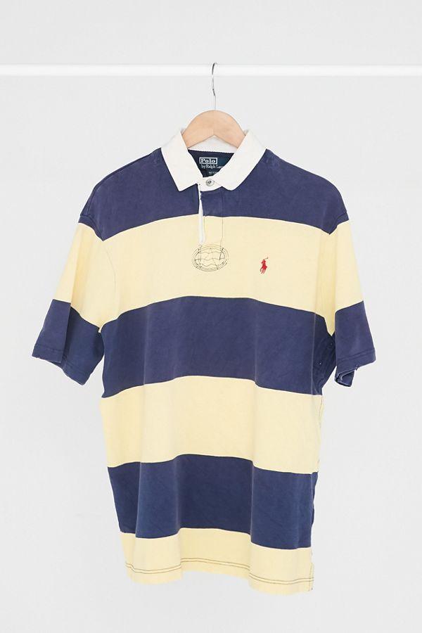 41a60f3b2dc Vintage Polo Ralph Lauren Yellow + Navy Stripe Polo Shirt | Urban ...