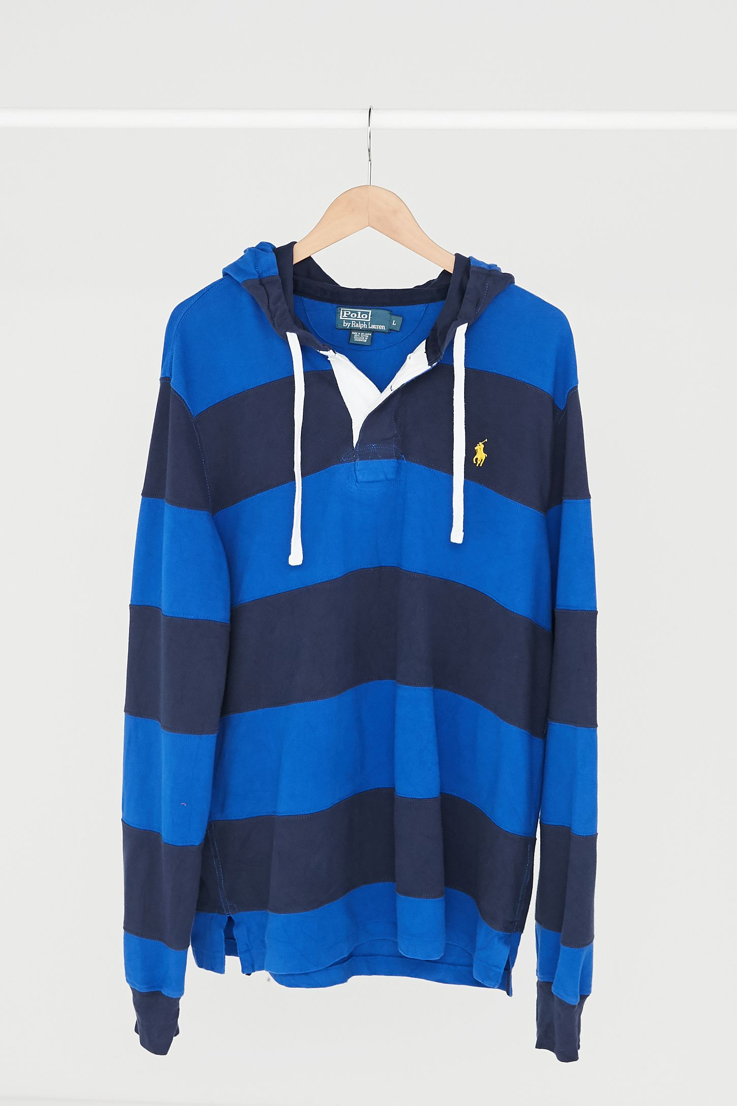 2164ad61cfc Vintage Polo Ralph Lauren Blue Stripe Hooded Rugby Shirt | Urban ...