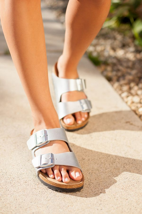 61be84037 Birkenstock Arizona Silver Sandal   Urban Outfitters
