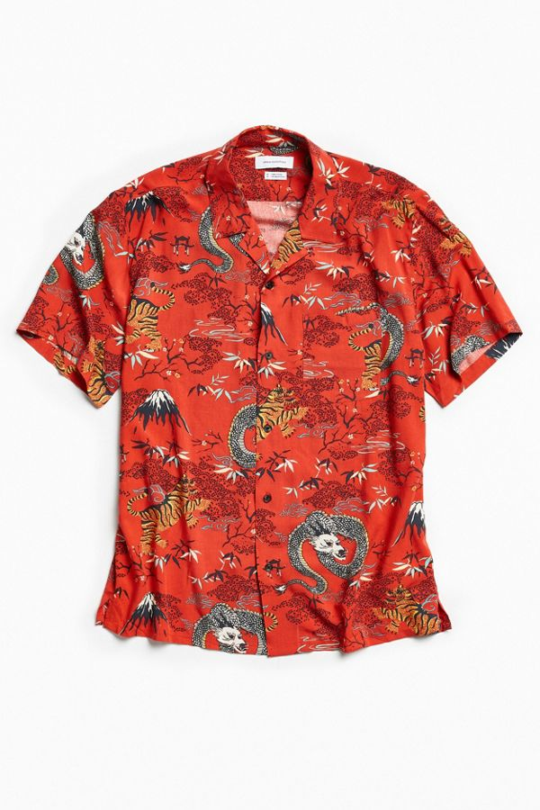 1f747d11 UO Dragon Rayon Short Sleeve Button-Down Shirt | Urban Outfitters