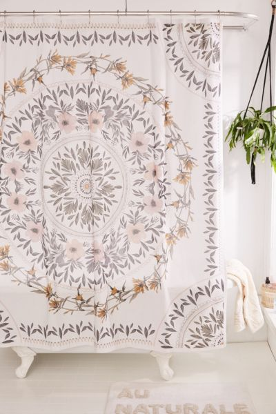 Sketched Floral Medallion Shower Curtain Urban Outfitters