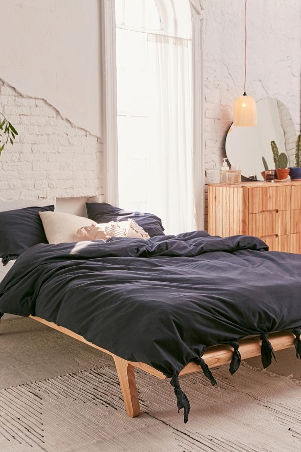 Slide View: 1: Knotted Washed Cotton Duvet Cover