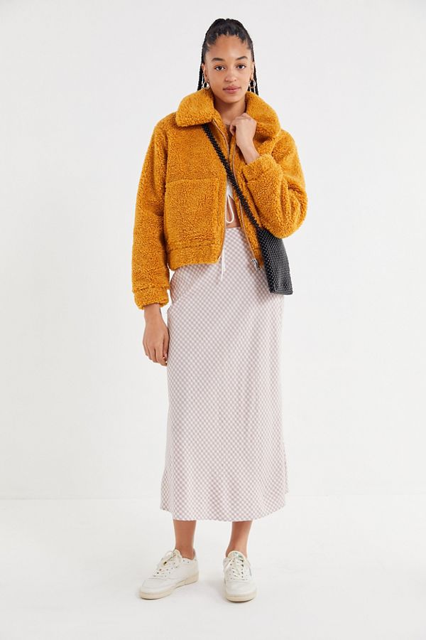 Teddy Jas We.Uo Cropped Teddy Jacket Urban Outfitters