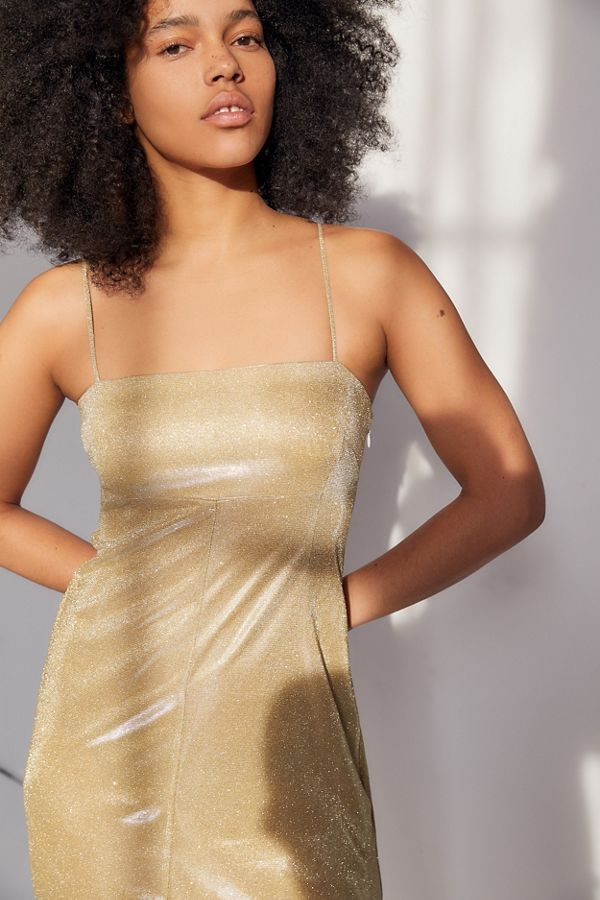 05d4335f8c5f UO Sparkly Moon Beam Empire Waist Mini Dress | Urban Outfitters