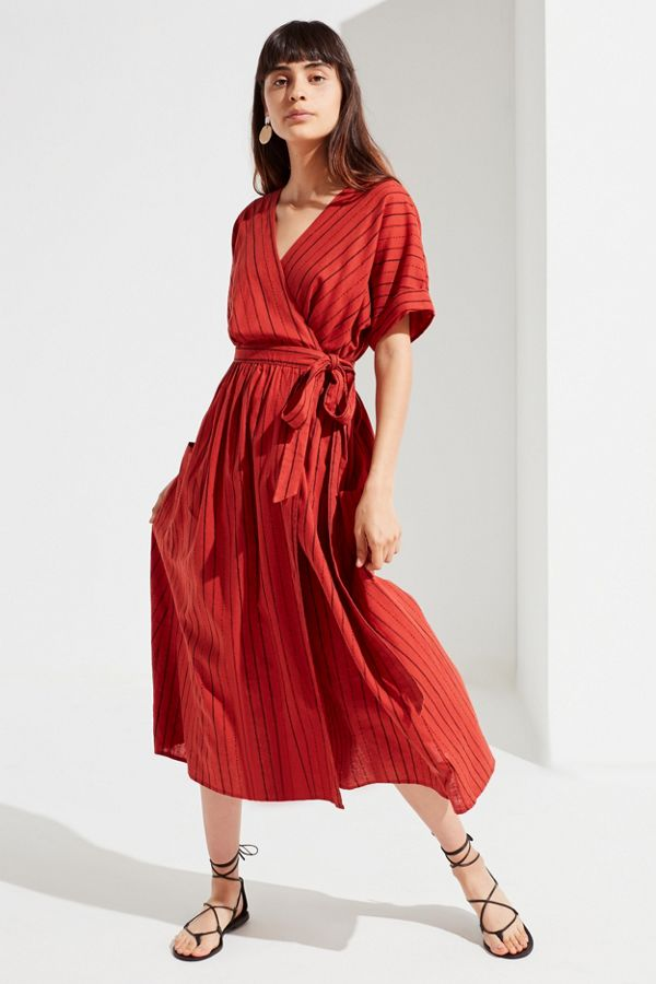 91c93a7917 Your Urban Outfitters Gallery. UO Gabrielle Linen Midi Wrap Dress