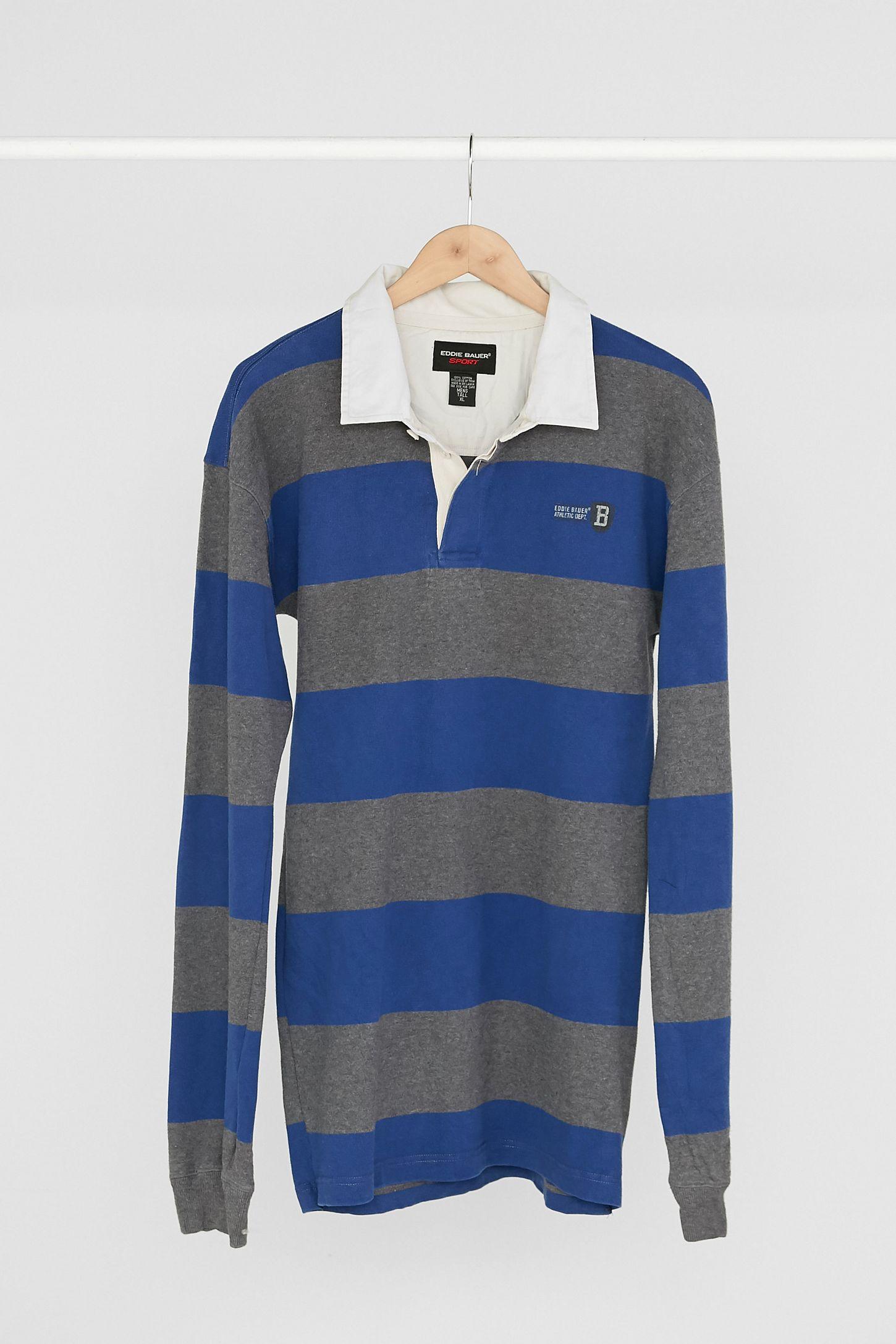 9e99b19edda Vintage Eddie Bauer '90s Blue + Grey Stripe Rugby Dress   Urban ...