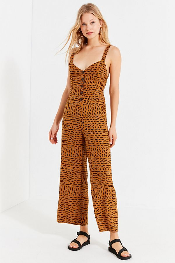 231a61270f1 UO Ashley Button-Down Tie-Back Jumpsuit