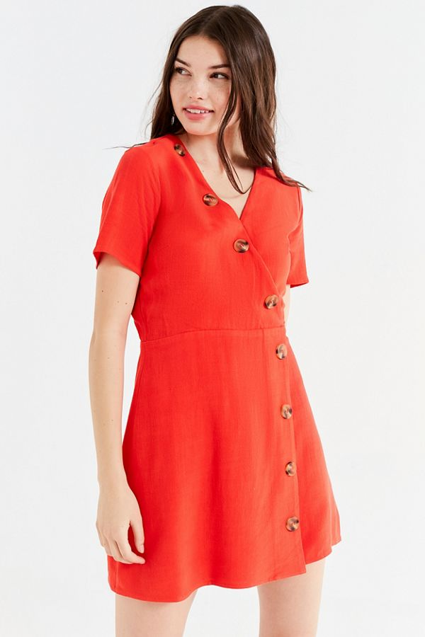 b643f903ccd Moon River Asymmetrical Button-Down Mini Dress