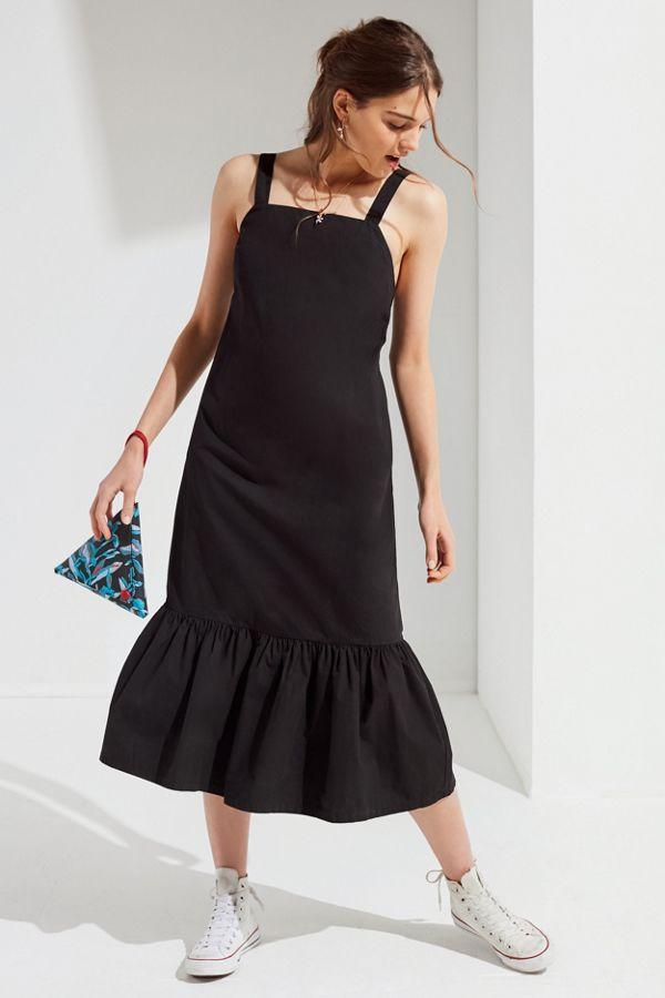 b4b3617f7924 UO Mia Poplin Ruffle Hem Midi Dress | Urban Outfitters