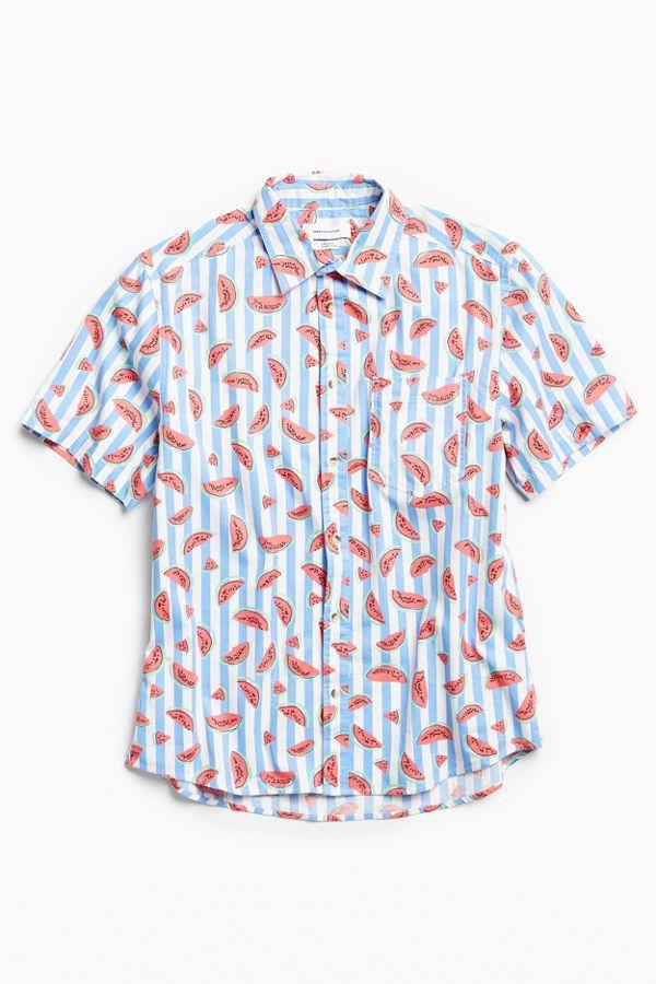 861d04947a1 UO Striped Watermelon Short Sleeve Button-Down Shirt