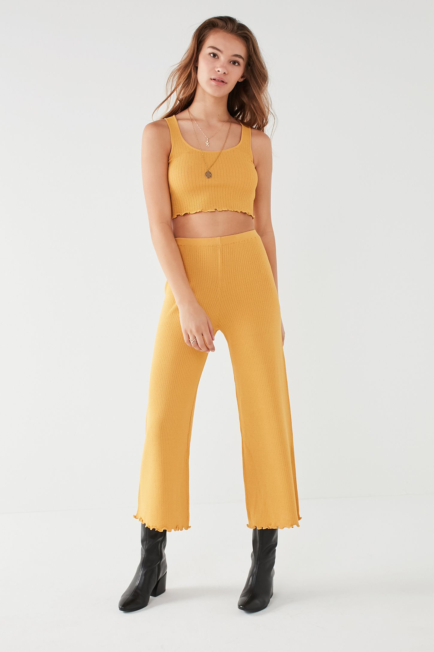 86756213500dc UO Ribbed Sweater Wide Leg Pant