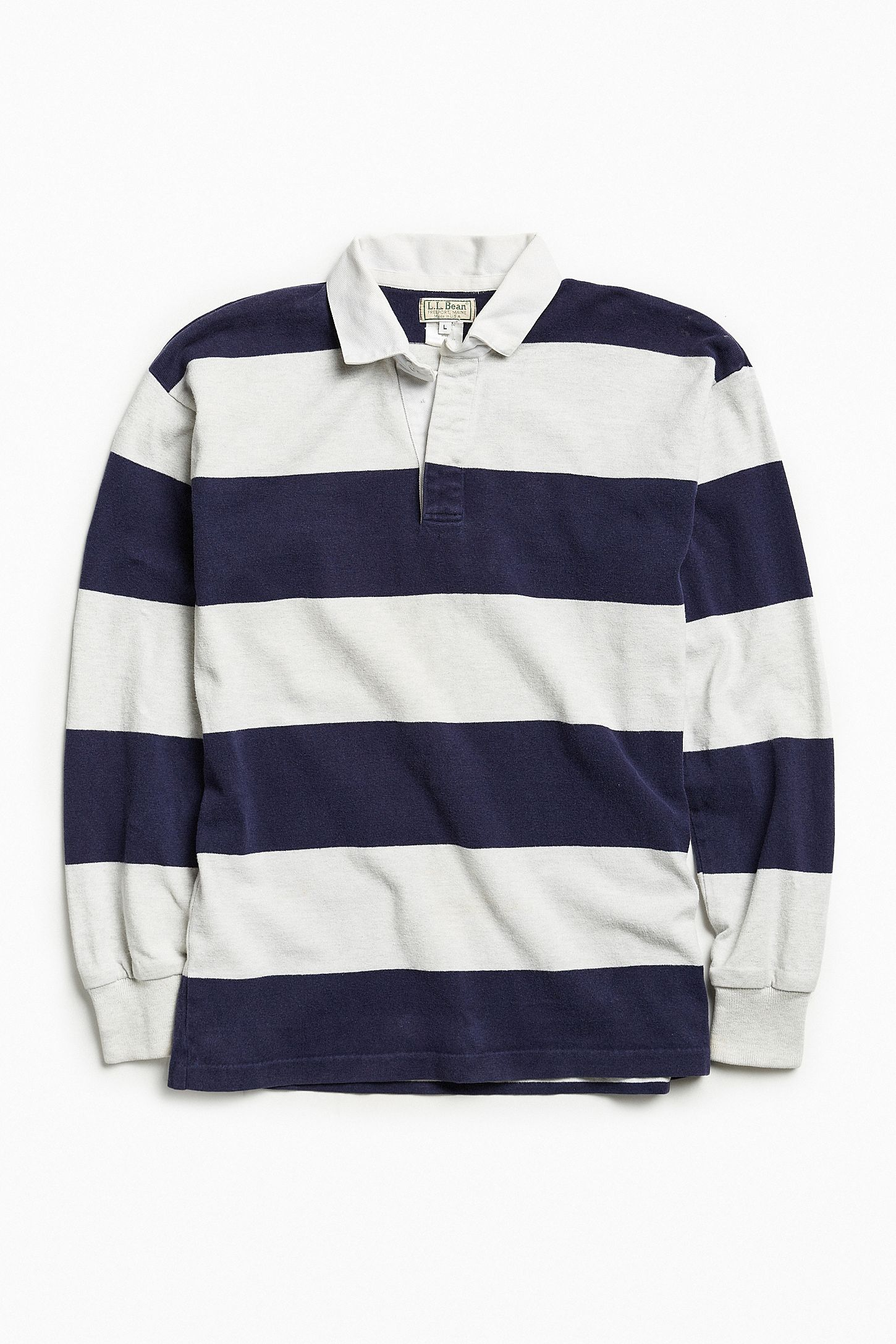 6854eea80 Vintage L.L. Bean Grey Stripe Rugby Shirt | Urban Outfitters