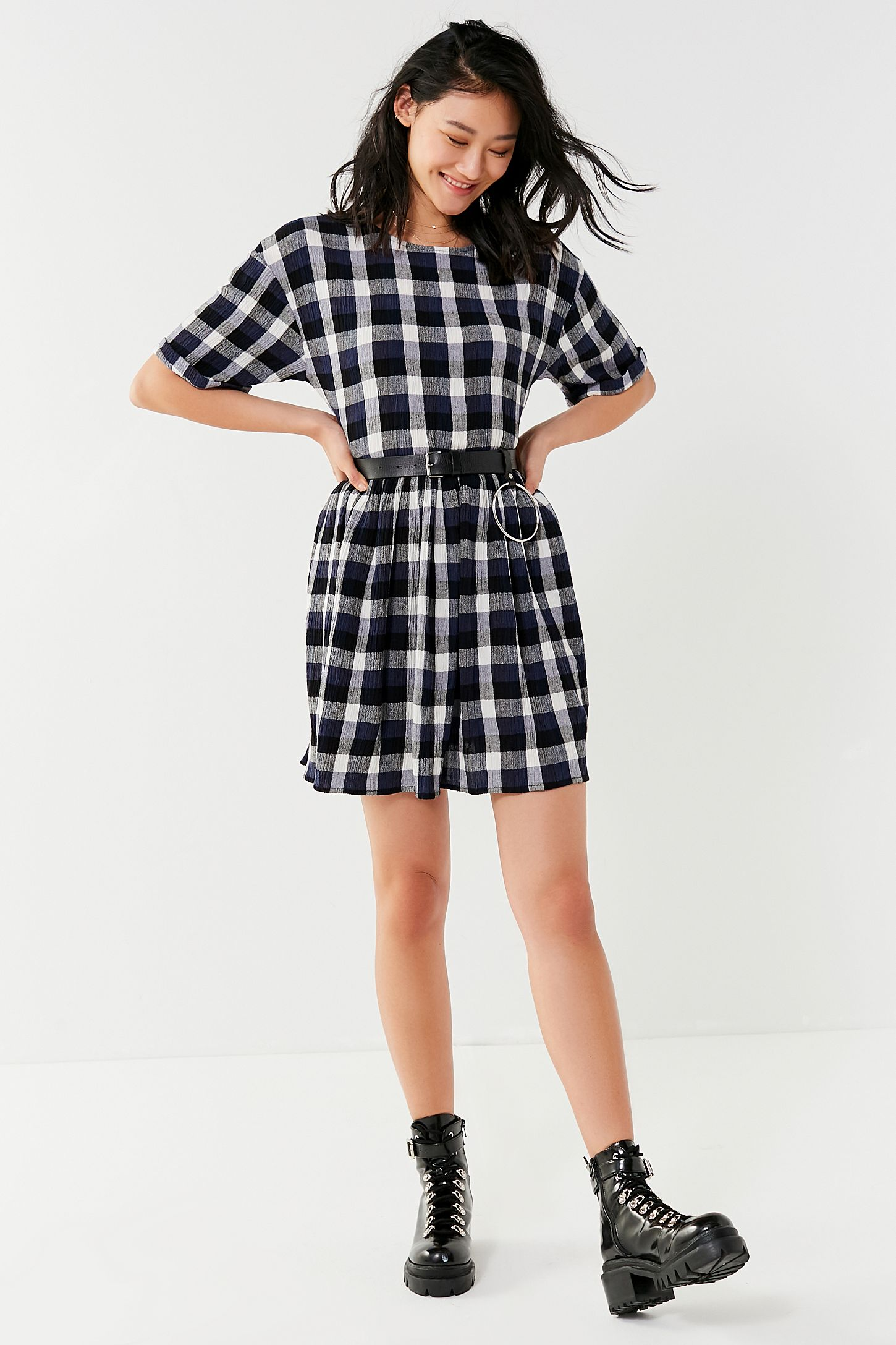 ebb909eb7a UO Textured Plaid Babydoll Dress