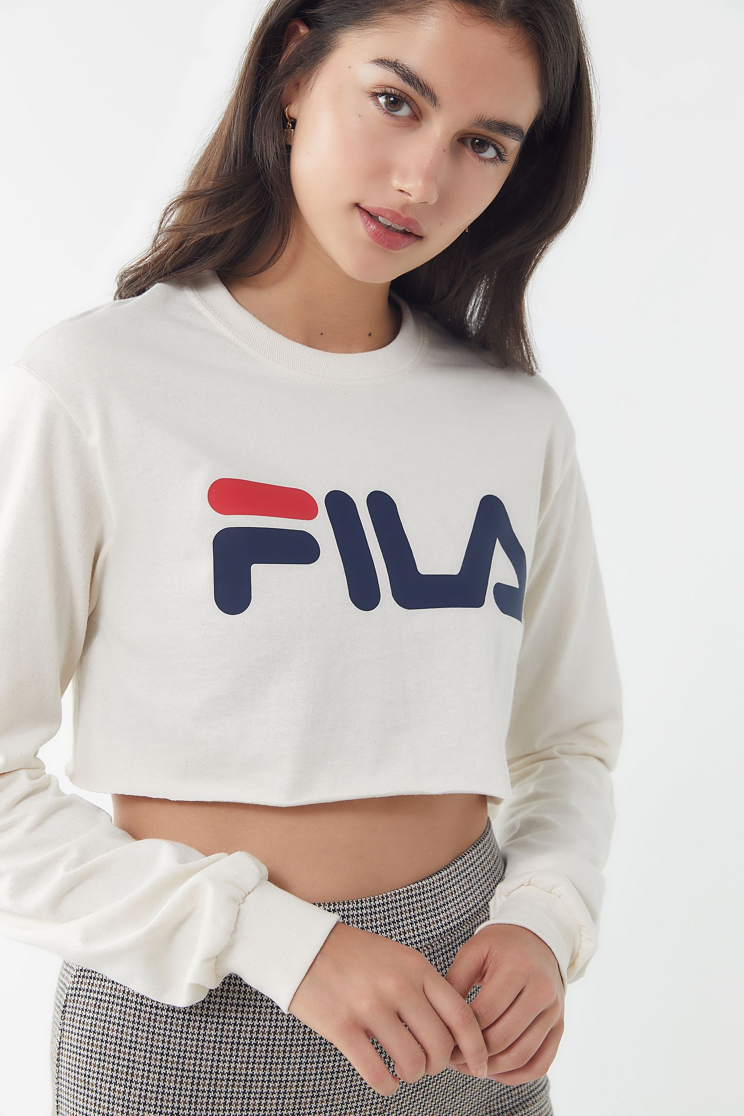 0913552d941 FILA + UO Cropped Long Sleeve Tee | Urban Outfitters Canada
